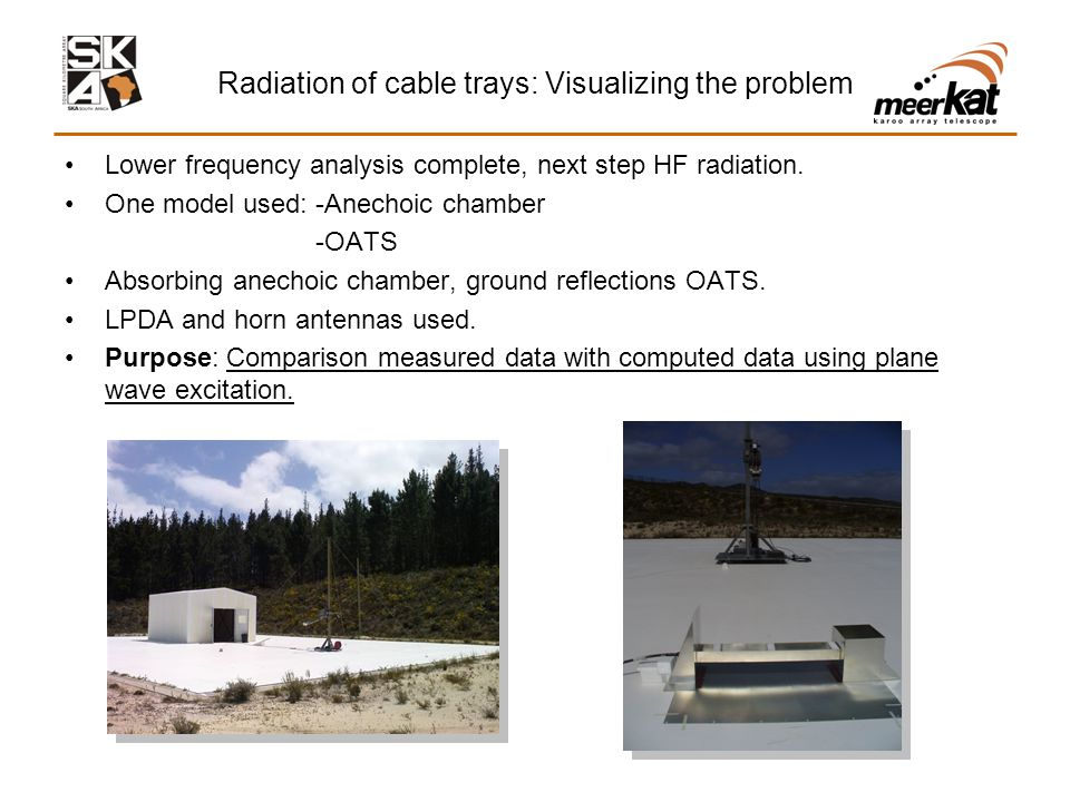 Radiation of cable trays: Visualizing the problem Lower frequency analysis complete, next step HF radiation.