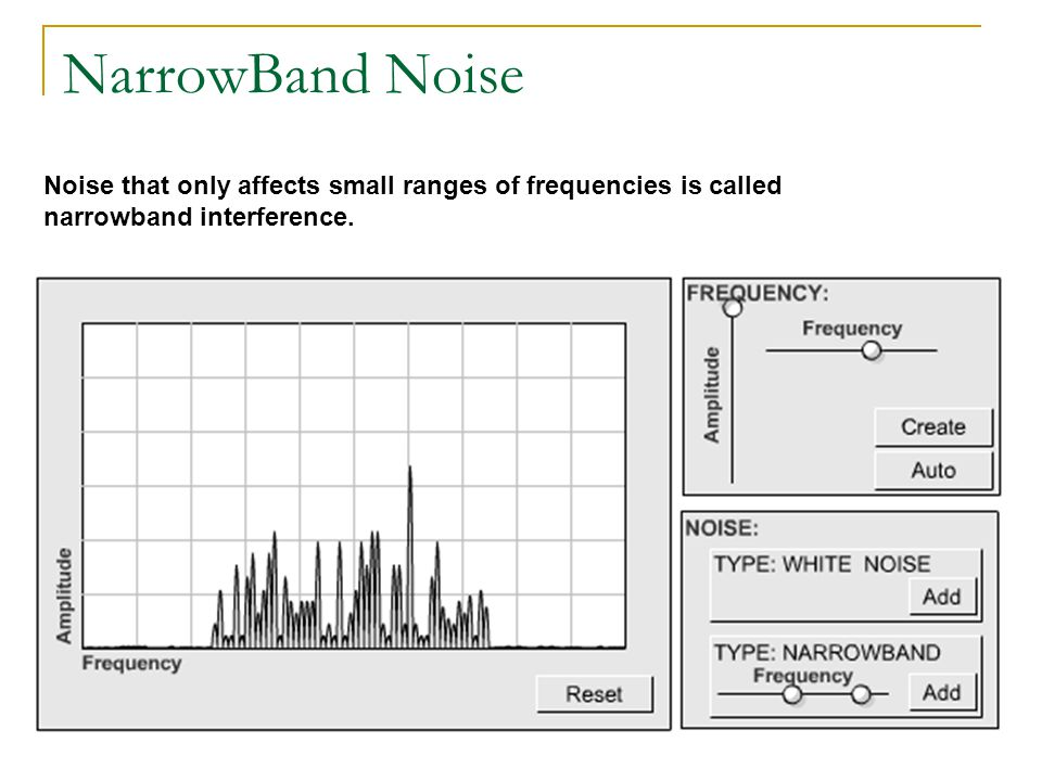 NarrowBand Noise Noise that only affects small ranges of frequencies is called narrowband interference.