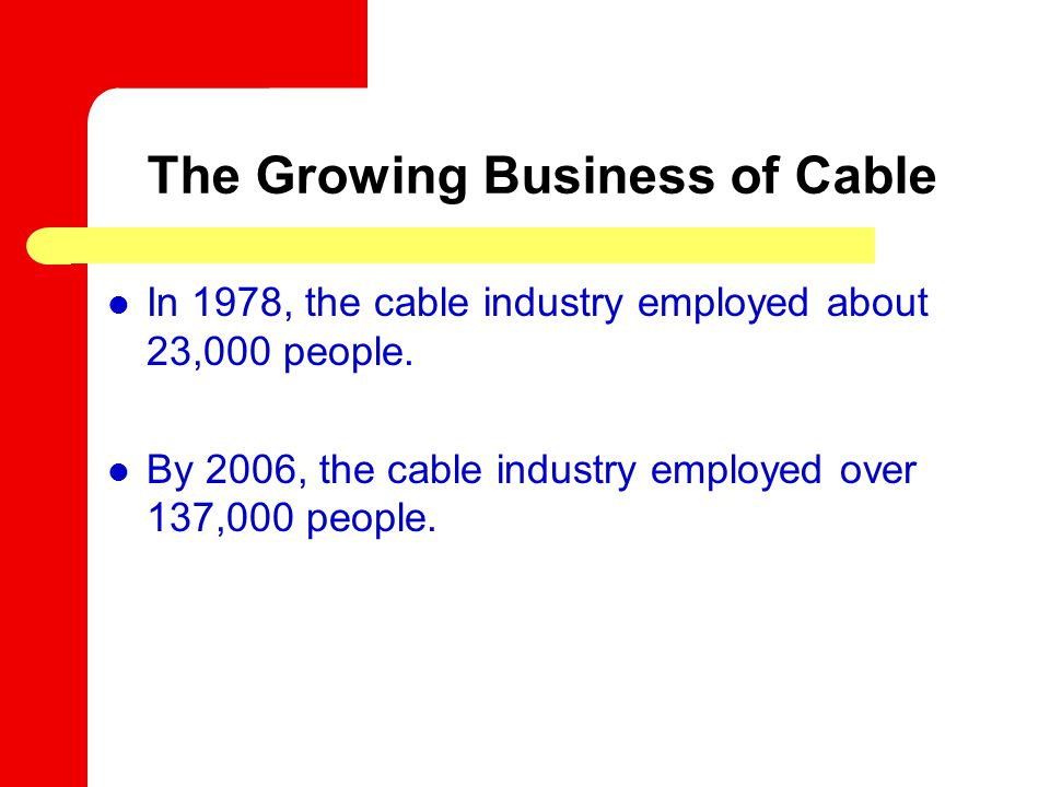 The Growing Business of Cable In 1978, the cable industry employed about 23,000 people.