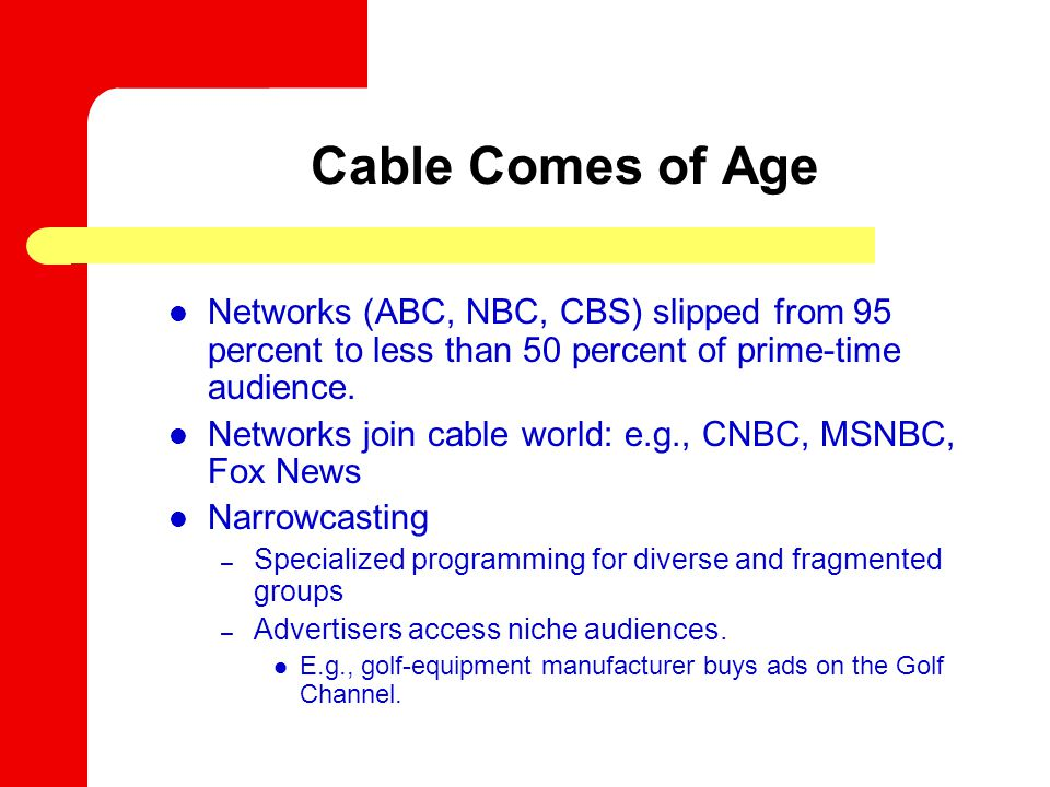 Networks (ABC, NBC, CBS) slipped from 95 percent to less than 50 percent of prime-time audience.