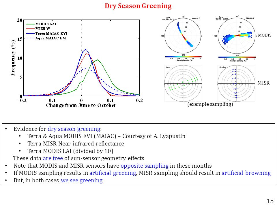 Dry Season Greening Evidence for dry season greening: Terra & Aqua MODIS EVI (MAIAC) – Courtesy of A.