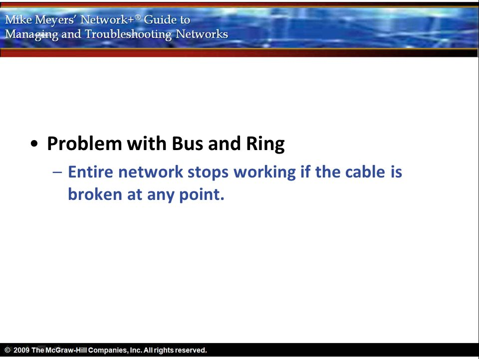 Problem with Bus and Ring –Entire network stops working if the cable is broken at any point.