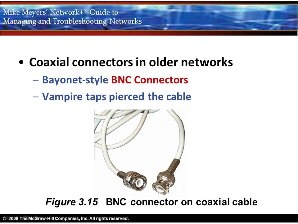Coaxial connectors in older networks –Bayonet-style BNC Connectors –Vampire taps pierced the cable Figure 3.15 BNC connector on coaxial cable