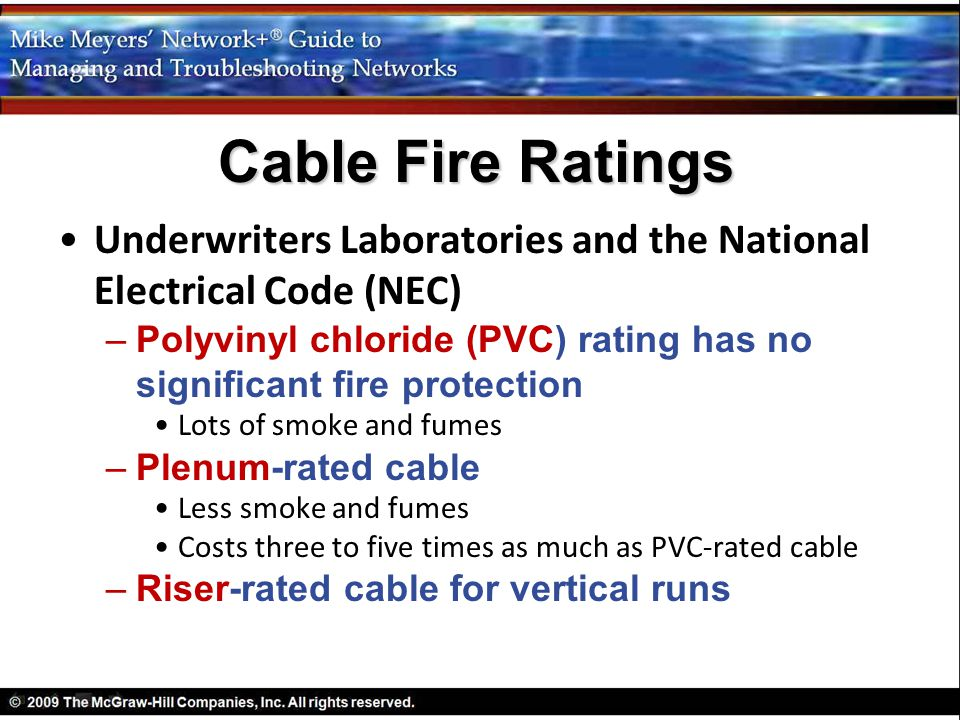 Underwriters Laboratories and the National Electrical Code (NEC) –Polyvinyl chloride (PVC) rating has no significant fire protection Lots of smoke and