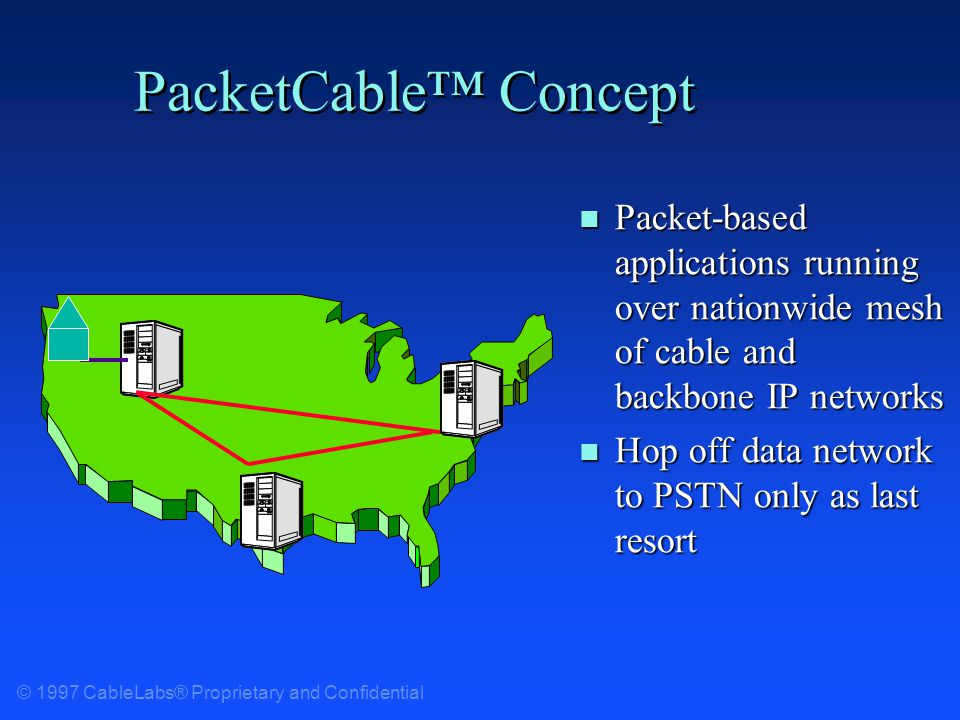© 1997 CableLabs® Proprietary and Confidential PacketCable Concept n Packet-based applications running over nationwide mesh of cable and backbone IP networks n Hop off data network to PSTN only as last resort