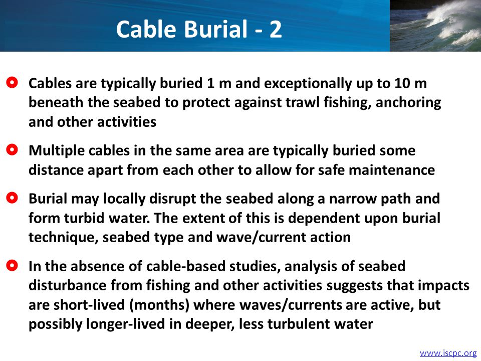 Cables are typically buried 1 m and exceptionally up to 10 m beneath the seabed to protect against trawl fishing, anchoring and other activities Multiple cables in the same area are typically buried some distance apart from each other to allow for safe maintenance Burial may locally disrupt the seabed along a narrow path and form turbid water.