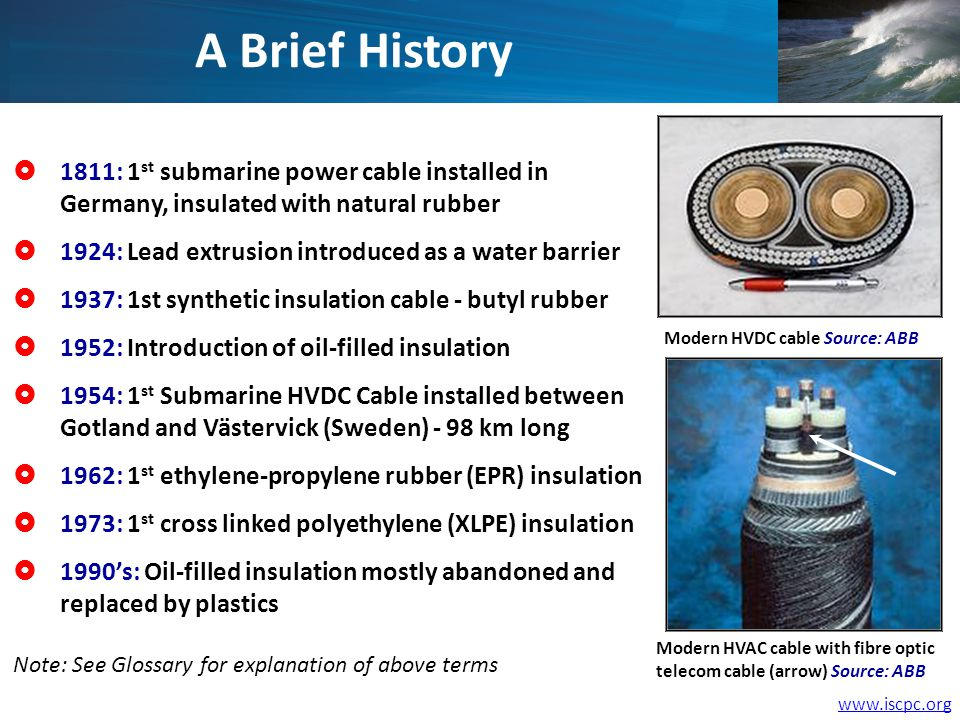 1811: 1 st submarine power cable installed in Germany, insulated with natural rubber 1924: Lead extrusion introduced as a water barrier 1937: 1st synthetic insulation cable - butyl rubber 1952: Introduction of oil-filled insulation 1954: 1 st Submarine HVDC Cable installed between Gotland and Västervick (Sweden) - 98 km long 1962: 1 st ethylene-propylene rubber (EPR) insulation 1973: 1 st cross linked polyethylene (XLPE) insulation 1990s: Oil-filled insulation mostly abandoned and replaced by plastics A Brief History Modern HVDC cable Source: ABB Modern HVAC cable with fibre optic telecom cable (arrow) Source: ABB Note: See Glossary for explanation of above terms