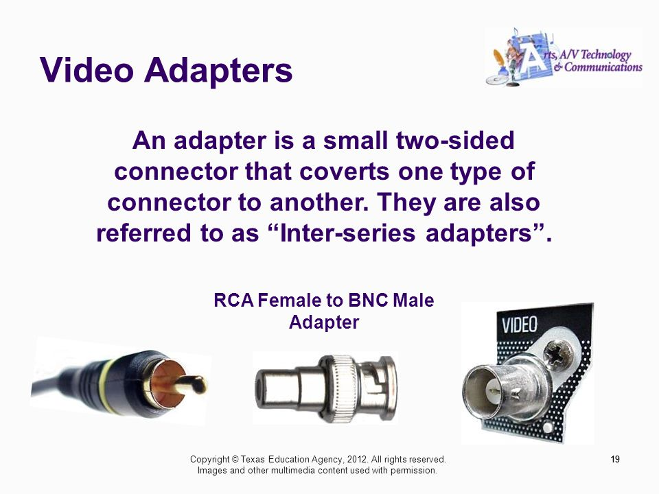 Video Adapters 19 An adapter is a small two-sided connector that coverts one type of connector to another.