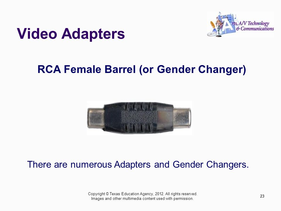 Video Adapters 23 RCA Female Barrel (or Gender Changer) There are numerous Adapters and Gender Changers.