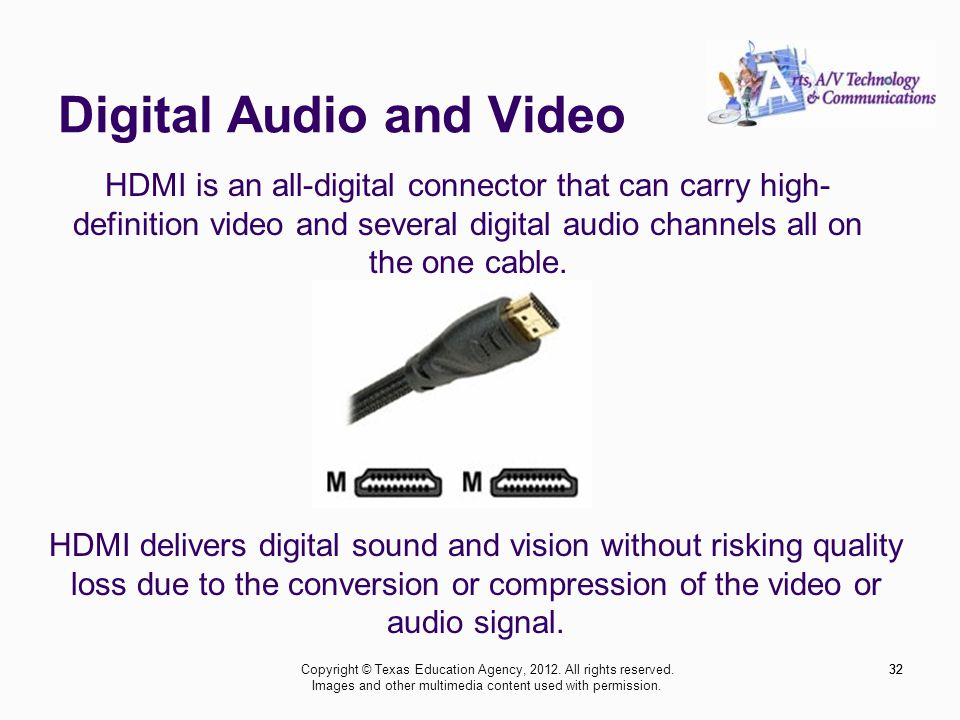 Digital Audio and Video 32 HDMI is an all-digital connector that can carry high- definition video and several digital audio channels all on the one cable.