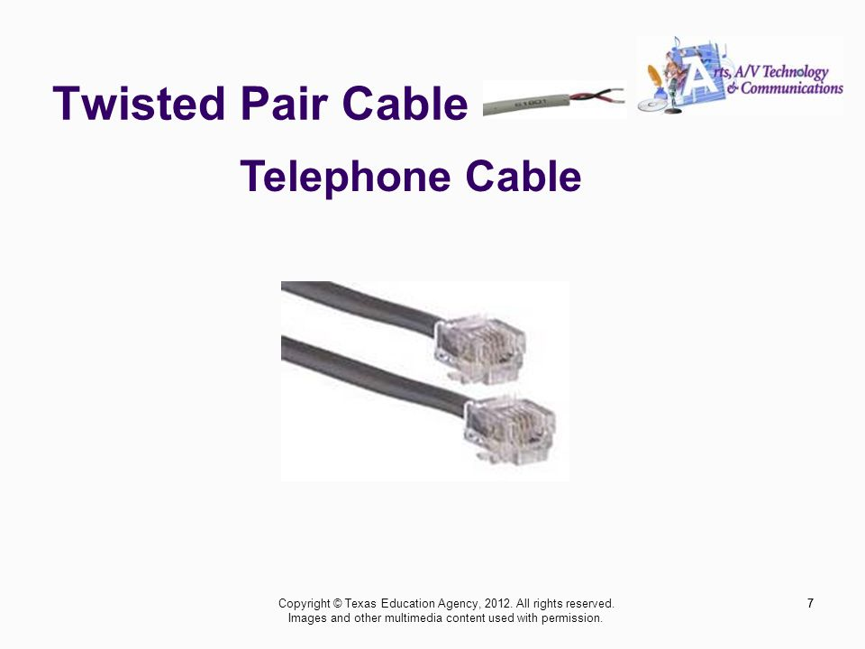 Twisted Pair Cable 7 Telephone Cable 7Copyright © Texas Education Agency, 2012.