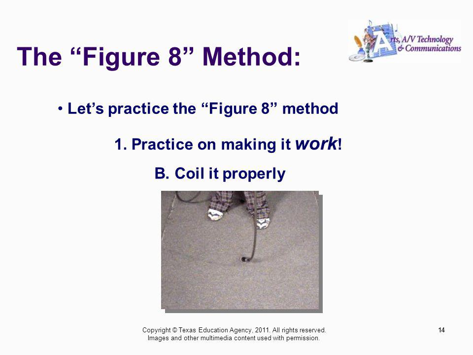 The Figure 8 Method: 14 Lets practice the Figure 8 method 1. Practice on making it work ! B. Coil it properly 14Copyright © Texas Education Agency, 20