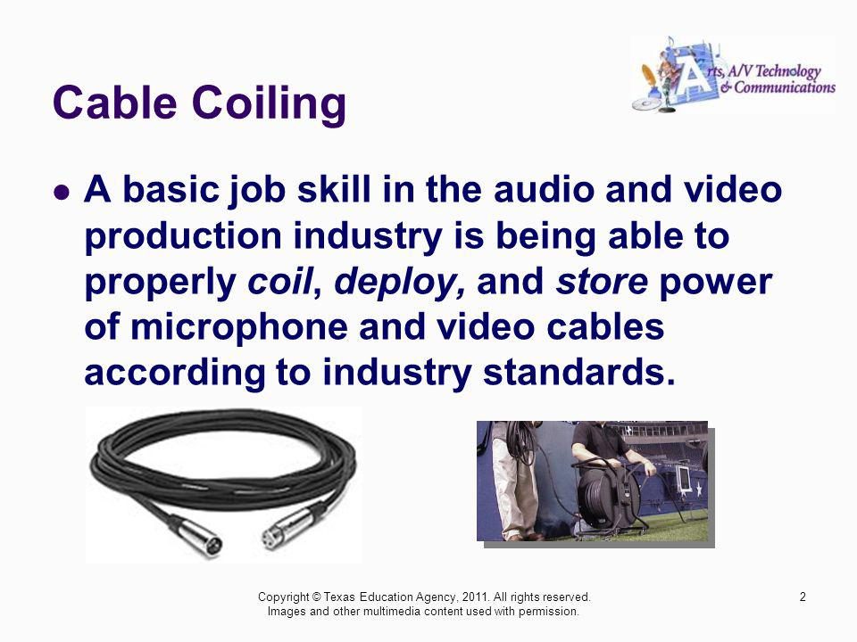 Cable Coiling A basic job skill in the audio and video production industry is being able to properly coil, deploy, and store power of microphone and v