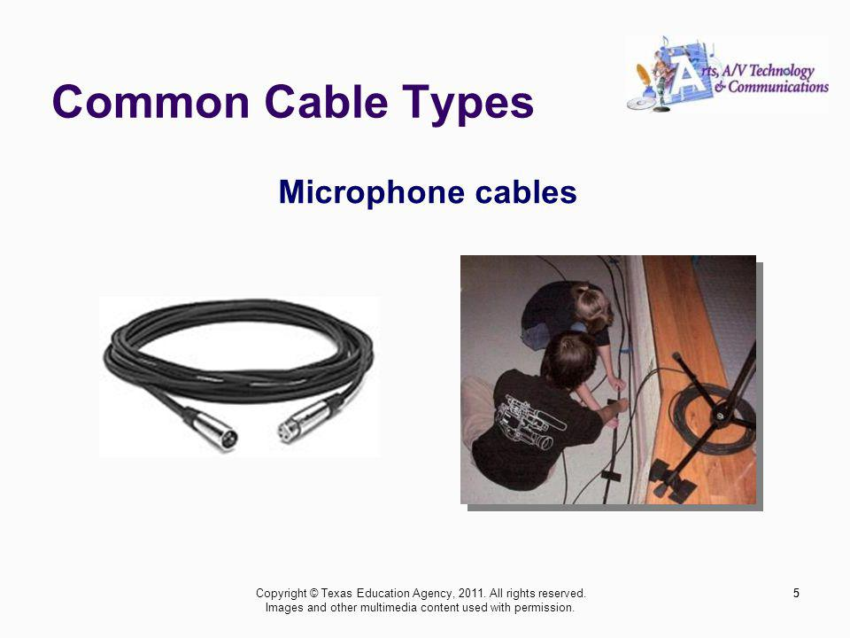 Common Cable Types 6 Video coax cables 6Copyright © Texas Education Agency, 2011.
