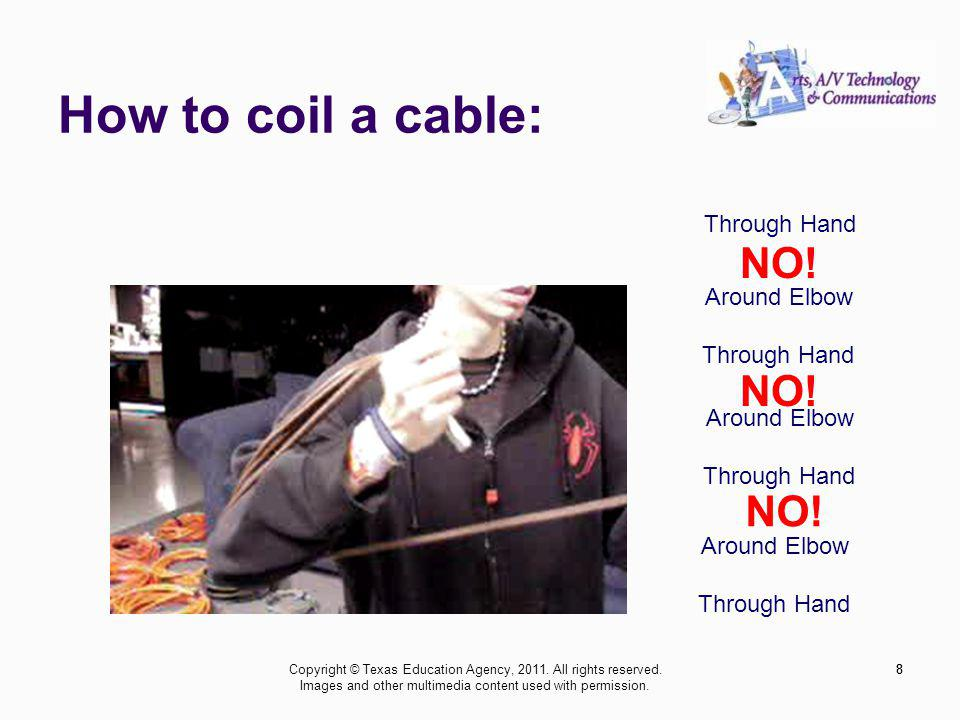 How to coil a cable: 8 Around Elbow Through Hand Around Elbow Through Hand Around Elbow Through Hand NO! 8Copyright © Texas Education Agency, 2011. Al