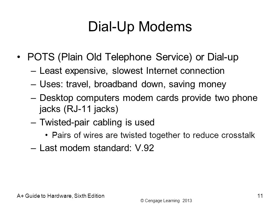 © Cengage Learning 2013 Dial-Up Modems POTS (Plain Old Telephone Service) or Dial-up –Least expensive, slowest Internet connection –Uses: travel, broa