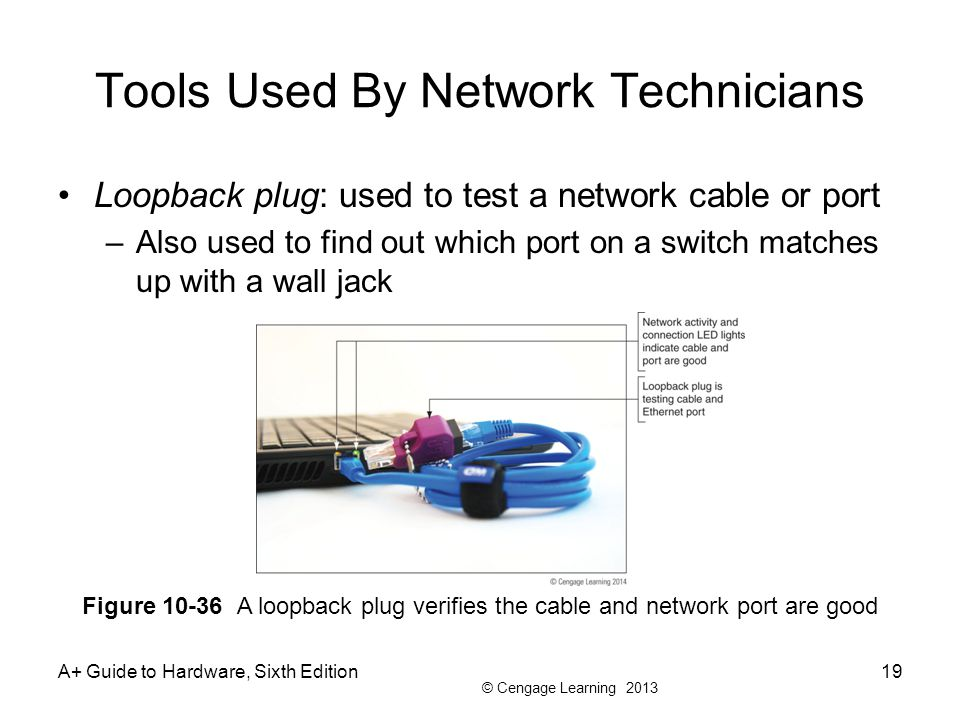 © Cengage Learning 2013 Tools Used By Network Technicians Loopback plug: used to test a network cable or port –Also used to find out which port on a switch matches up with a wall jack A+ Guide to Hardware, Sixth Edition19 Figure 10-36 A loopback plug verifies the cable and network port are good