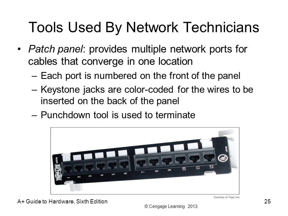 © Cengage Learning 2013 Tools Used By Network Technicians Patch panel: provides multiple network ports for cables that converge in one location –Each