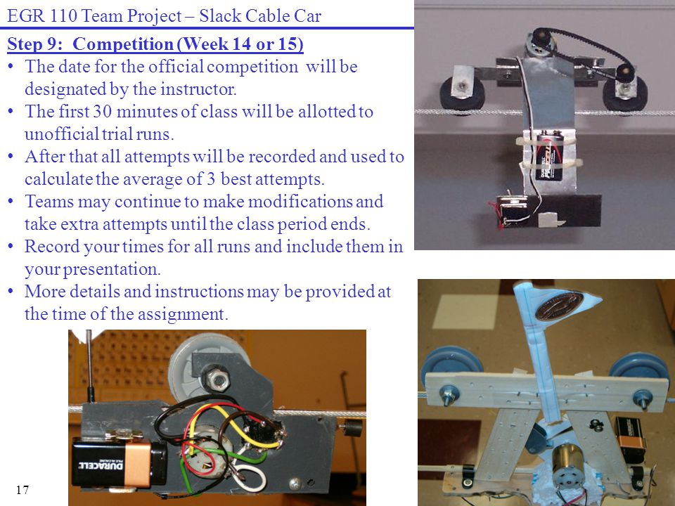 17 EGR 110 Team Project – Slack Cable Car Step 9: Competition (Week 14 or 15) The date for the official competition will be designated by the instructor.