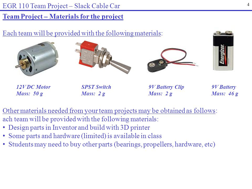 4 EGR 110 Team Project – Slack Cable Car Team Project – Materials for the project 12V DC Motor Mass: 50 g 9V Battery Mass: 46 g 9V Battery Clip Mass: 2 g SPST Switch Mass: 2 g Each team will be provided with the following materials: Other materials needed from your team projects may be obtained as follows: ach team will be provided with the following materials: Design parts in Inventor and build with 3D printer Some parts and hardware (limited) is available in class Students may need to buy other parts (bearings, propellers, hardware, etc)