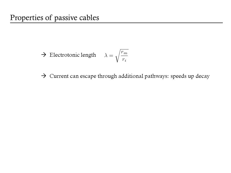Properties of passive cables Electrotonic length Current can escape through additional pathways: speeds up decay