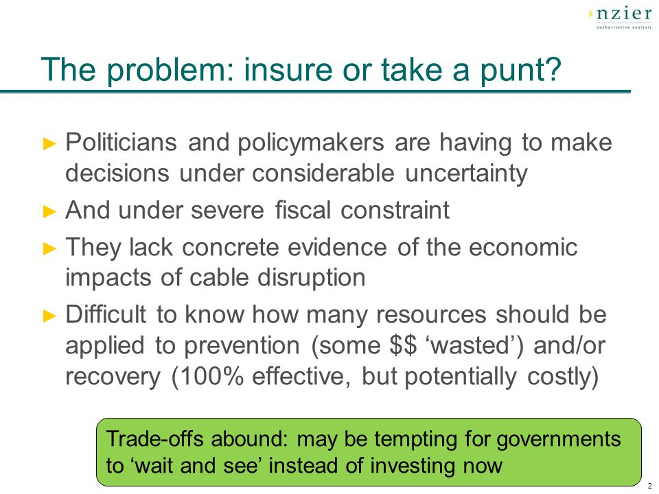 2 The problem: insure or take a punt.