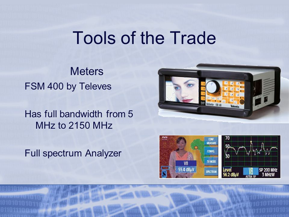 Tools of the Trade Meters FSM 400 by Televes Has full bandwidth from 5 MHz to 2150 MHz Full spectrum Analyzer