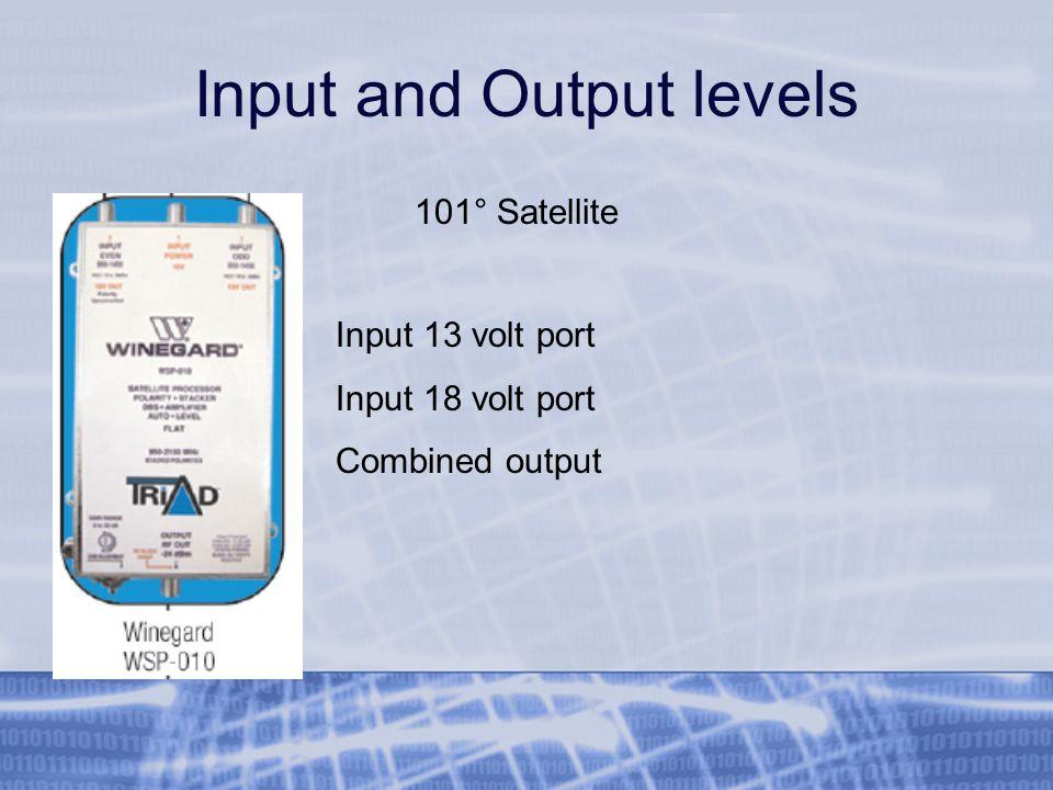 Input and Output levels Input 13 volt port Input 18 volt port Combined output 101° Satellite
