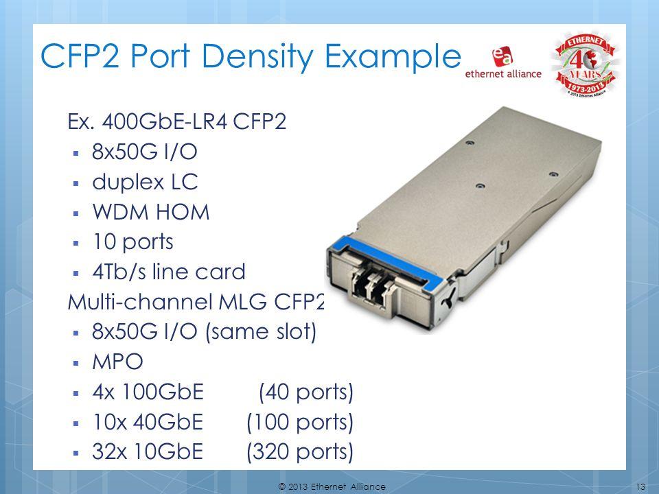 13© 2013 Ethernet Alliance CFP2 Port Density Example Ex. 400GbE-LR4 CFP2 8x50G I/O duplex LC WDM HOM 10 ports 4Tb/s line card Multi-channel MLG CFP2s