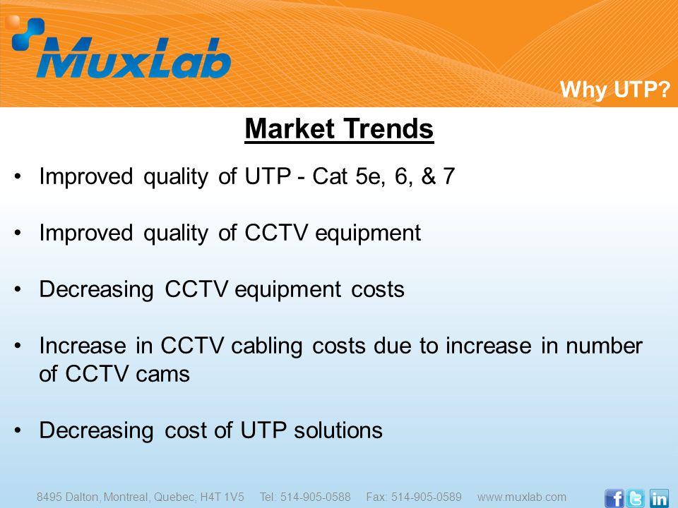 Market Trends Improved quality of UTP - Cat 5e, 6, & 7 Improved quality of CCTV equipment Decreasing CCTV equipment costs Increase in CCTV cabling costs due to increase in number of CCTV cams Decreasing cost of UTP solutions Why UTP.