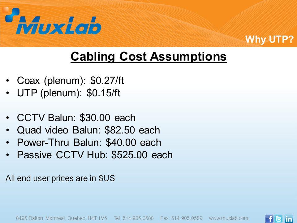 Coax (plenum): $0.27/ft UTP (plenum): $0.15/ft CCTV Balun: $30.00 each Quad video Balun: $82.50 each Power-Thru Balun: $40.00 each Passive CCTV Hub: $525.00 each All end user prices are in $US Why UTP.