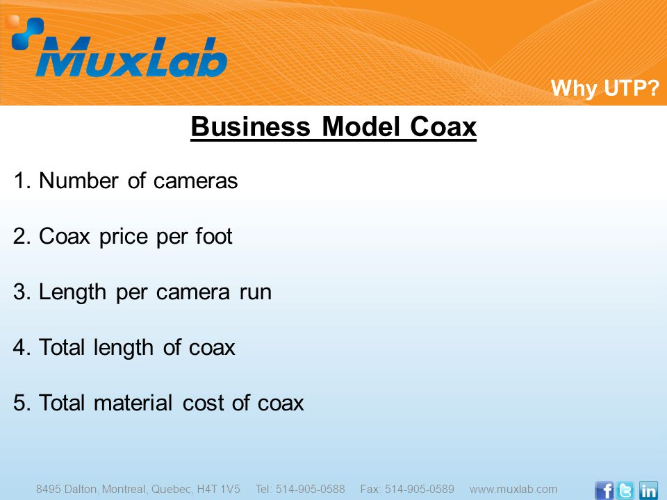 1. Number of cameras 2. Coax price per foot 3. Length per camera run 4. Total length of coax 5. Total material cost of coax Why UTP? Business Model Co