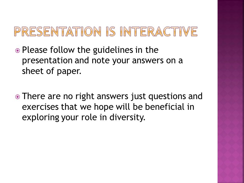 Please follow the guidelines in the presentation and note your answers on a sheet of paper. There are no right answers just questions and exercises th