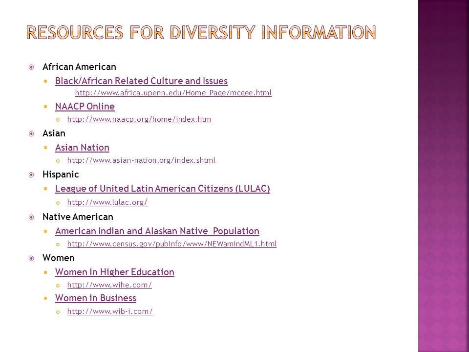 African American Black/African Related Culture and Issues http://www.africa.upenn.edu/Home_Page/mcgee.html Black/African Related Culture and Issues ht