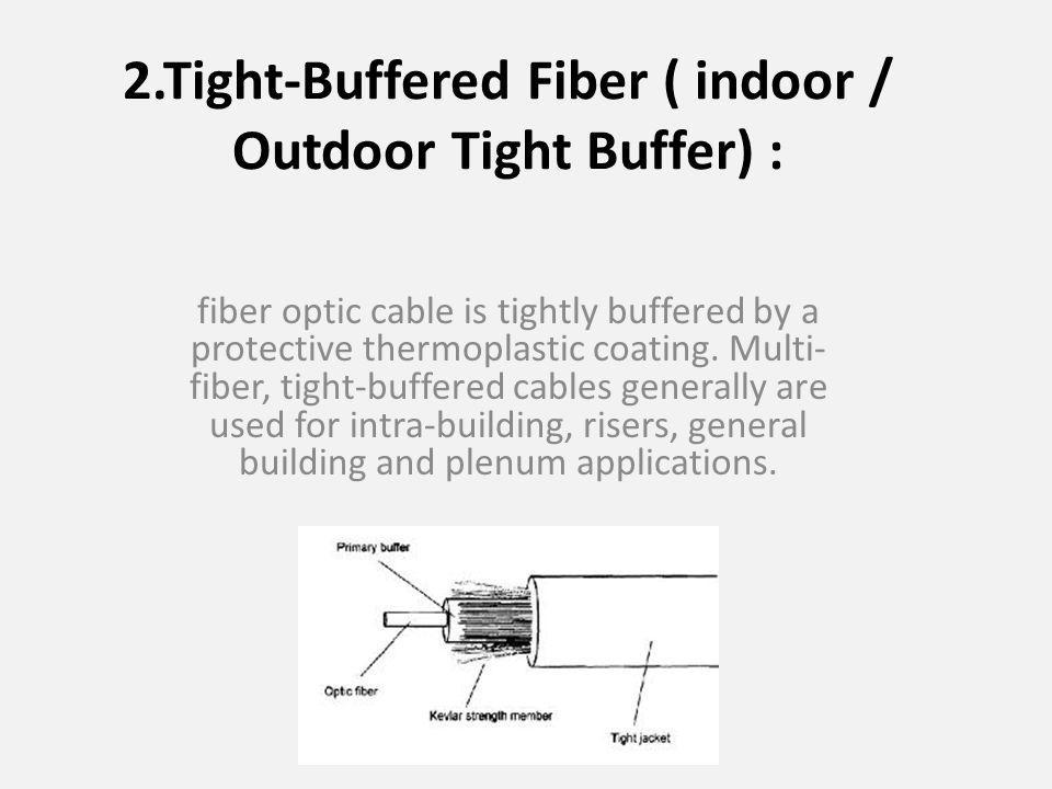 2.Tight-Buffered Fiber ( indoor / Outdoor Tight Buffer) : fiber optic cable is tightly buffered by a protective thermoplastic coating.