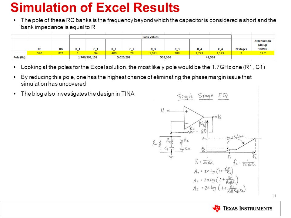 Simulation of Excel Results The pole of these RC banks is the frequency beyond which the capacitor is considered a short and the bank impedance is equal to R Looking at the poles for the Excel solution, the most likely pole would be the 1.7GHz one (R1, C1) By reducing this pole, one has the highest chance of eliminating the phase margin issue that simulation has uncovered The blog also investigates the design in TINA 11