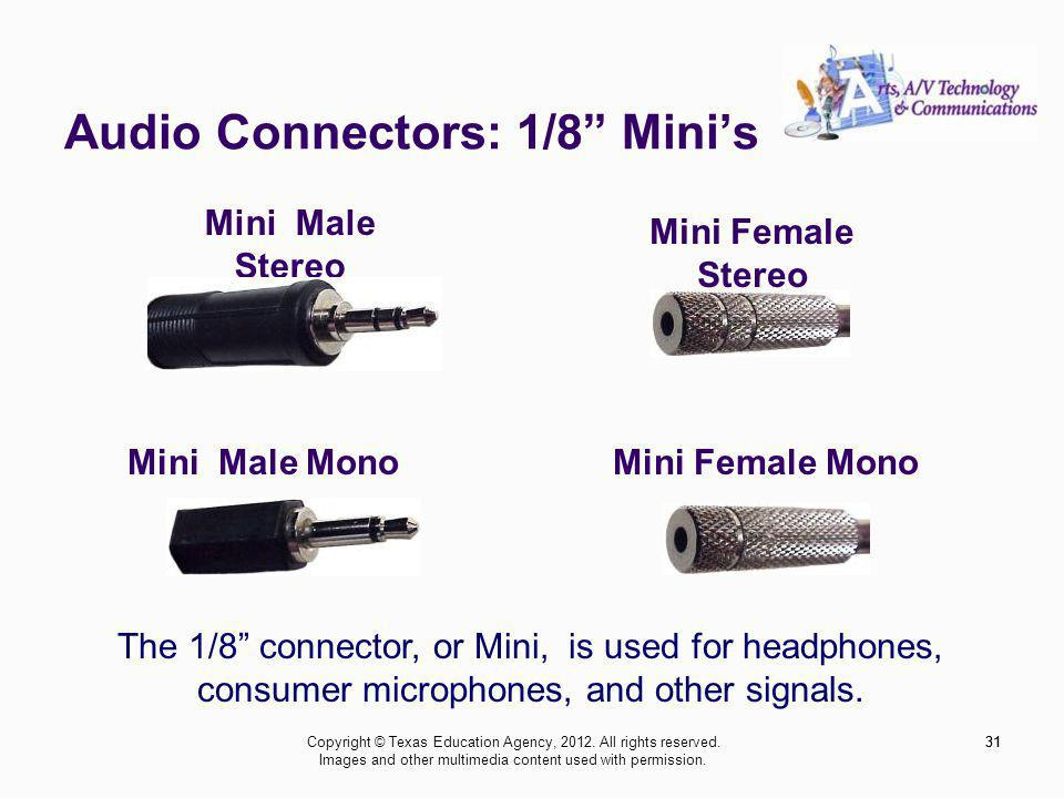 Audio Connectors: 1/8 Minis 31 The 1/8 connector, or Mini, is used for headphones, consumer microphones, and other signals.