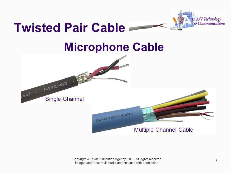 Twisted Pair Cable 5 Microphone Cable Multiple Channel Cable Single Channel 5 Copyright © Texas Education Agency, 2012.