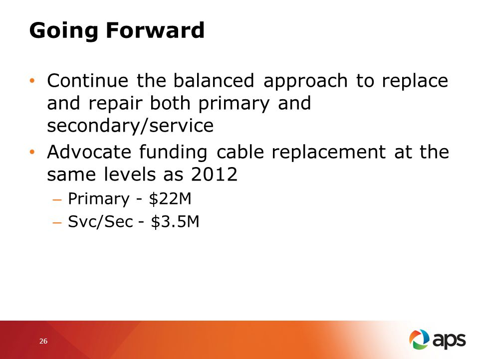 Going Forward Continue the balanced approach to replace and repair both primary and secondary/service Advocate funding cable replacement at the same l