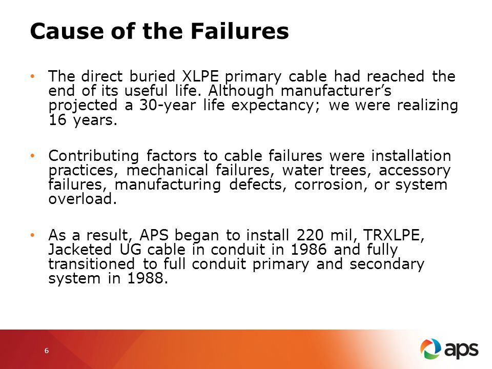 Cause of the Failures The direct buried XLPE primary cable had reached the end of its useful life. Although manufacturers projected a 30-year life exp