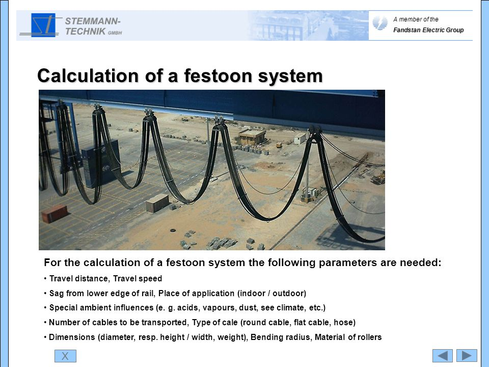 X For the calculation of a festoon system the following parameters are needed: Travel distance, Travel speed Sag from lower edge of rail, Place of app