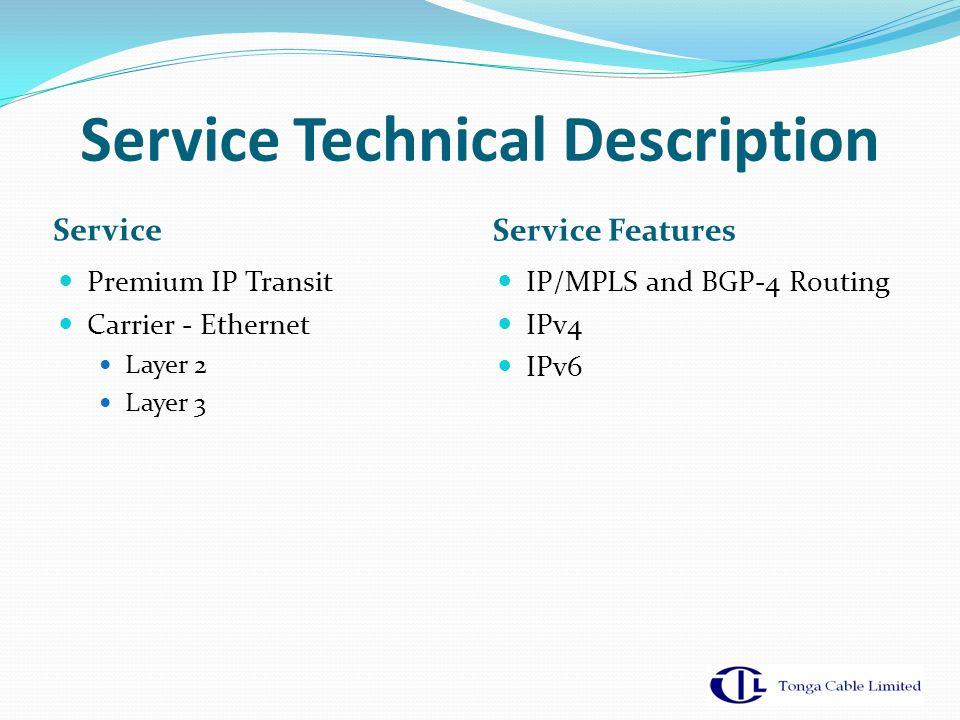 Service Technical Description Service Service Features Premium IP Transit Carrier - Ethernet Layer 2 Layer 3 IP/MPLS and BGP-4 Routing IPv4 IPv6