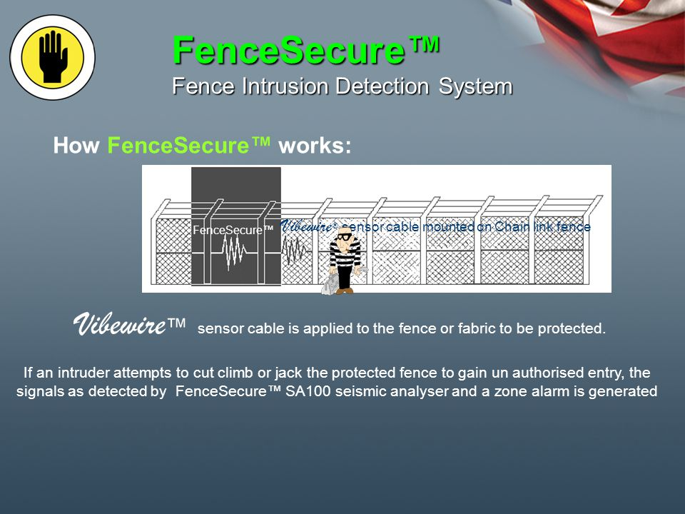 Perimeter Intrusion Detection Perimeter intrusion detection systems are zoned for interfacing with CCTV for alarm verification and response Alarmed premises Zone 1 Zone 2 Zone 3 Zone 4 FenceSecure Perimeter Intrusion Detection System