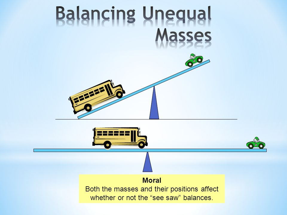 Moral Both the masses and their positions affect whether or not the see saw balances.