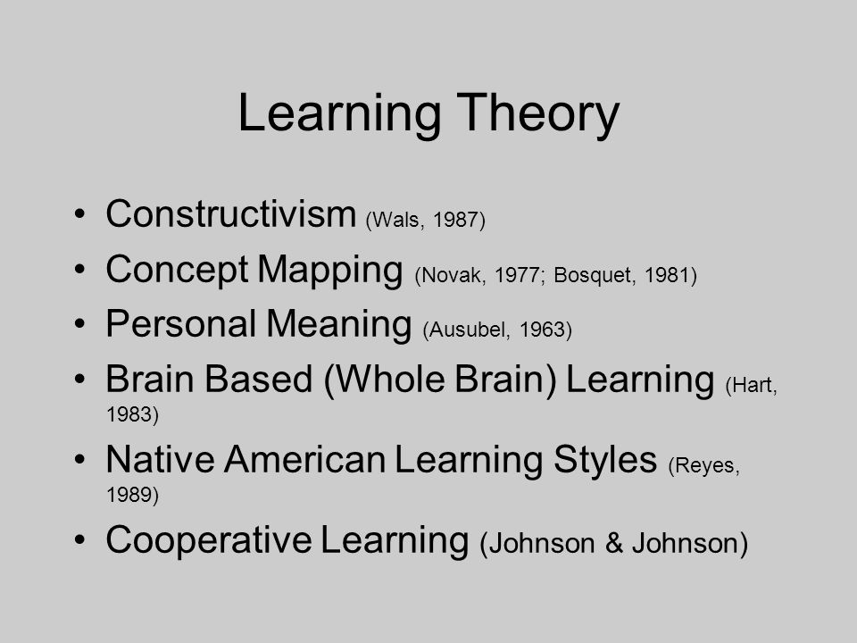 Learning Theory Constructivism (Wals, 1987) Concept Mapping (Novak, 1977; Bosquet, 1981) Personal Meaning (Ausubel, 1963) Brain Based (Whole Brain) Learning (Hart, 1983) Native American Learning Styles (Reyes, 1989) Cooperative Learning (Johnson & Johnson)