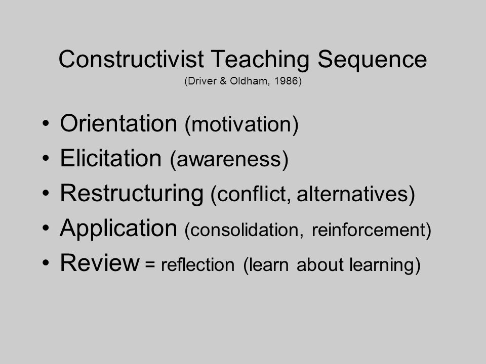 Constructivist Teaching Sequence (Driver & Oldham, 1986) Orientation (motivation) Elicitation (awareness) Restructuring (conflict, alternatives) Application (consolidation, reinforcement) Review = reflection (learn about learning)
