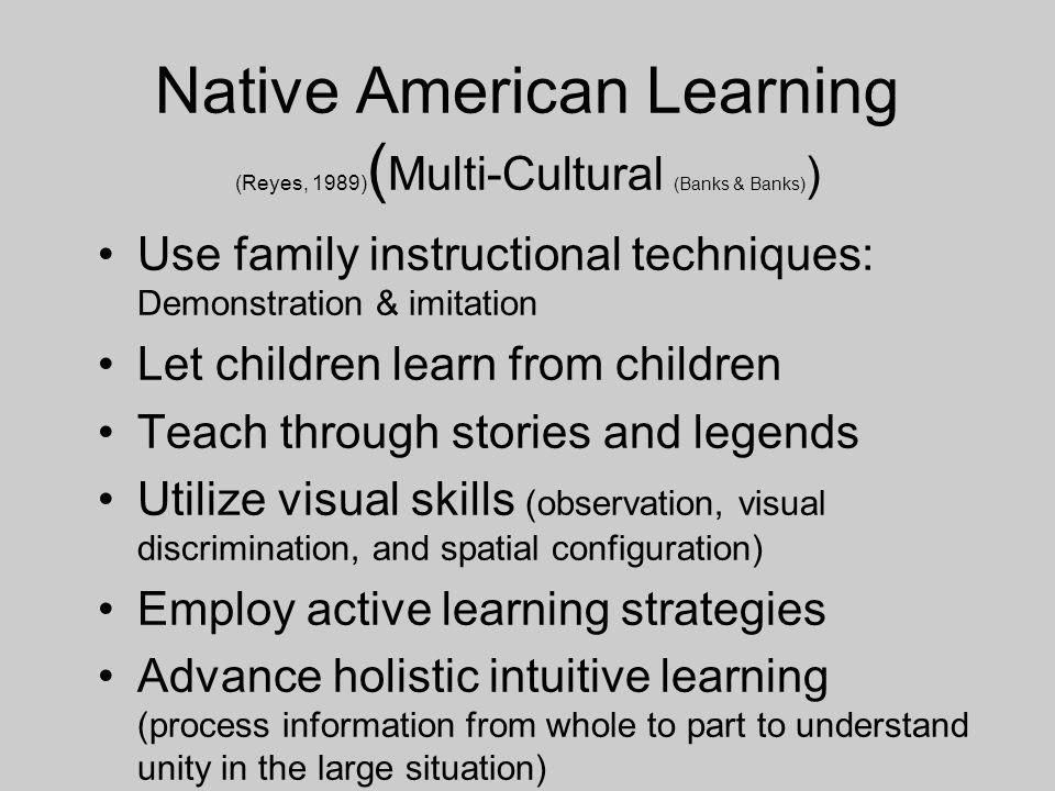 Native American Learning (Reyes, 1989) ( Multi-Cultural (Banks & Banks) ) Use family instructional techniques: Demonstration & imitation Let children