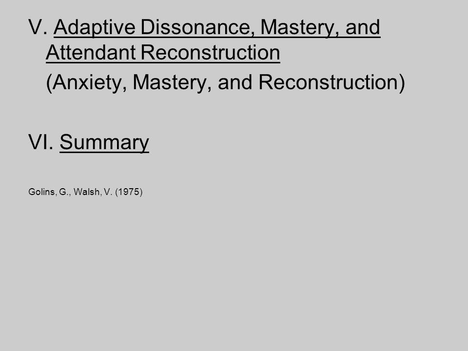 V. Adaptive Dissonance, Mastery, and Attendant Reconstruction (Anxiety, Mastery, and Reconstruction) VI. Summary Golins, G., Walsh, V. (1975)