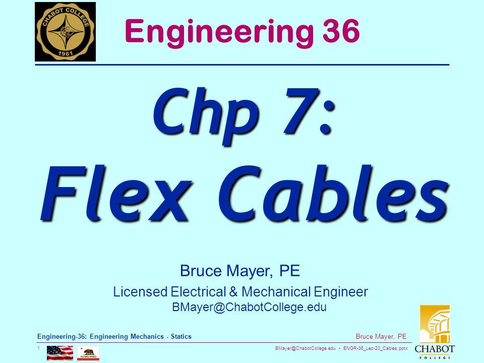 BMayer@ChabotCollege.edu ENGR-36_Lec-20_Cables.pptx 1 Bruce Mayer, PE Engineering-36: Engineering Mechanics - Statics Bruce Mayer, PE Licensed Electri