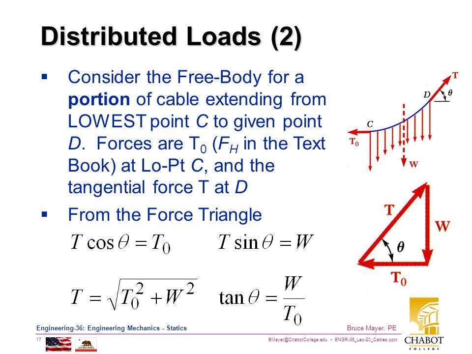 BMayer@ChabotCollege.edu ENGR-36_Lec-20_Cables.pptx 17 Bruce Mayer, PE Engineering-36: Engineering Mechanics - Statics Distributed Loads (2) Consider
